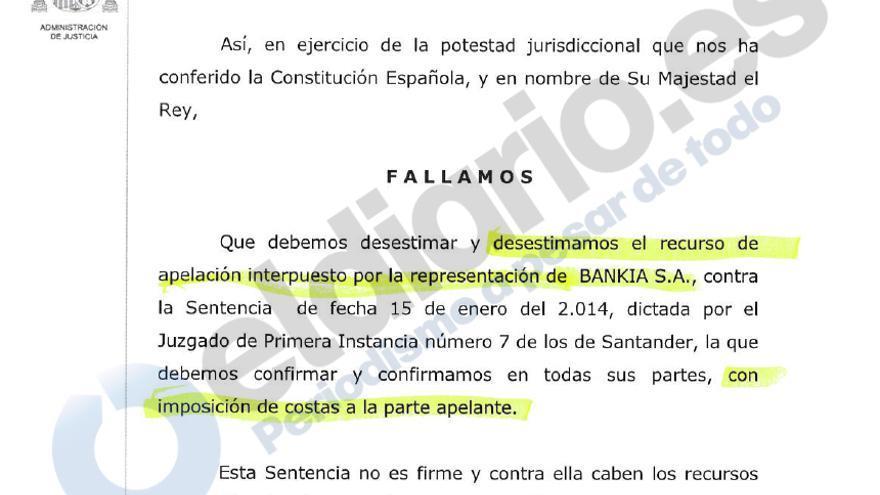 Fallo de la sentencia de la Audiencia Provincial de Cantabria.