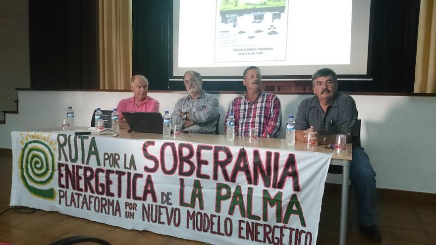 Componentes de la  mesa redonda sobre un nuevo modelo energético celebrada en Puntagorda.