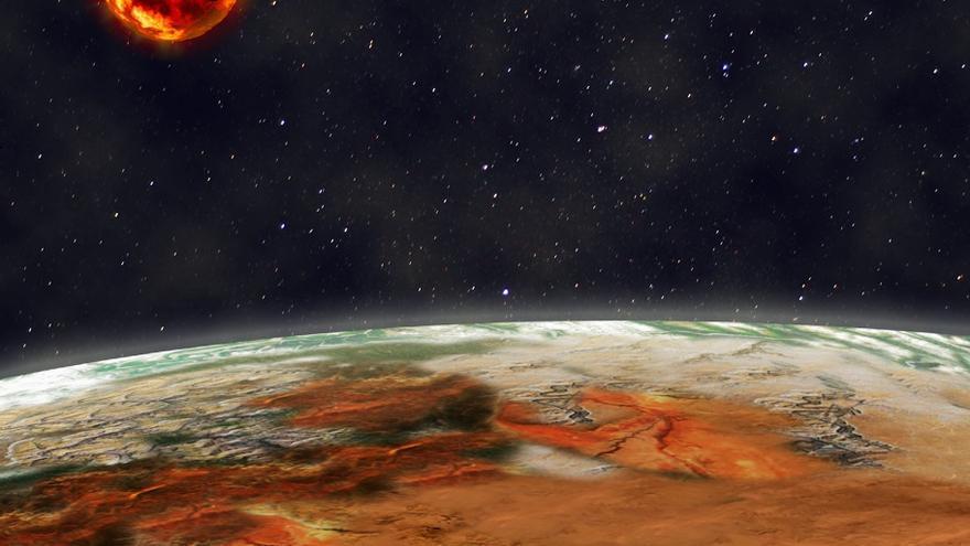 Imagen artistica el sistema planetario Kepler10, en la constelación del Dragón, a 560  años luz de la Tierra (V. Guido/TNG)