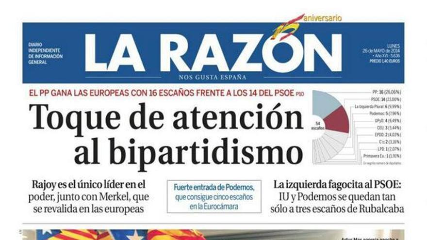 Portada de La Razón del 26 de mayo de 2014