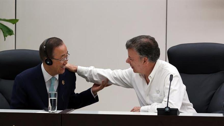 """Ban Ki-moon felicita a Santos por su """"visión y liderazgo"""" para lograr la paz"""