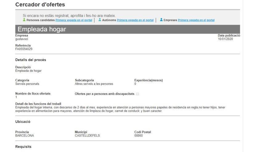 Oferta publicada en el portal Feina Activa del SOC que busca a una trabajadora del hogar sin hijos y que libre dos días al mes.