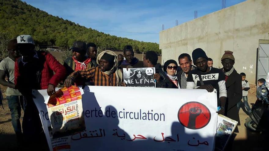 Una de las concentraciones que han tenido lugar en Marruecos en solidaridad con Helena Maleno.