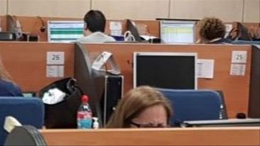 Centro de trabajo de Konecta BPO en Madrid este 17 de marzo, en plena epidemia de coronavirus.