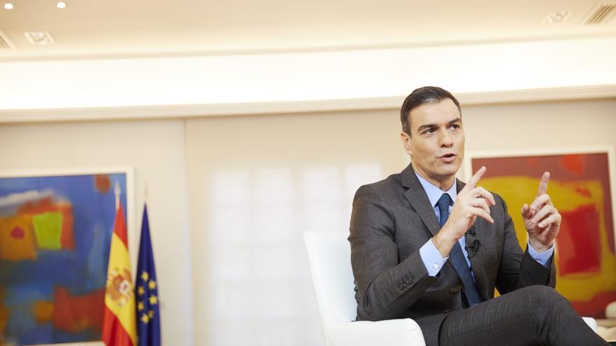 Pedro Sánchez durante la entrevista en eldiario.es
