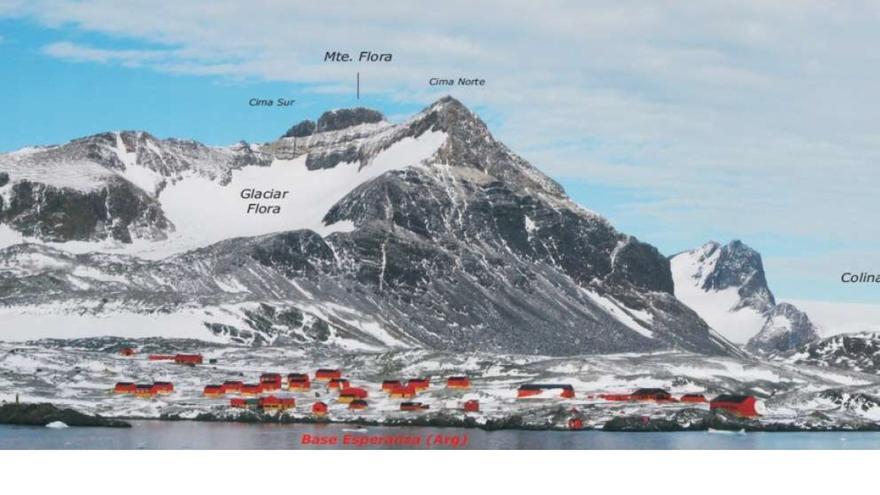 Panorámica desde el rompehielos Irizar de la Base Esperanza (Arg) y Monte Flora. El yacimiento paleobotánico se encuentra en la zona oscura hacia la mitad del relieve.
