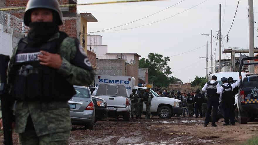 Fotografía con fecha del 1 de julio de 2020 que muestra la zona donde fueron asesinados 26 jóvenes en el municipio de Irapuato, en el estado de Guanajuato (México).