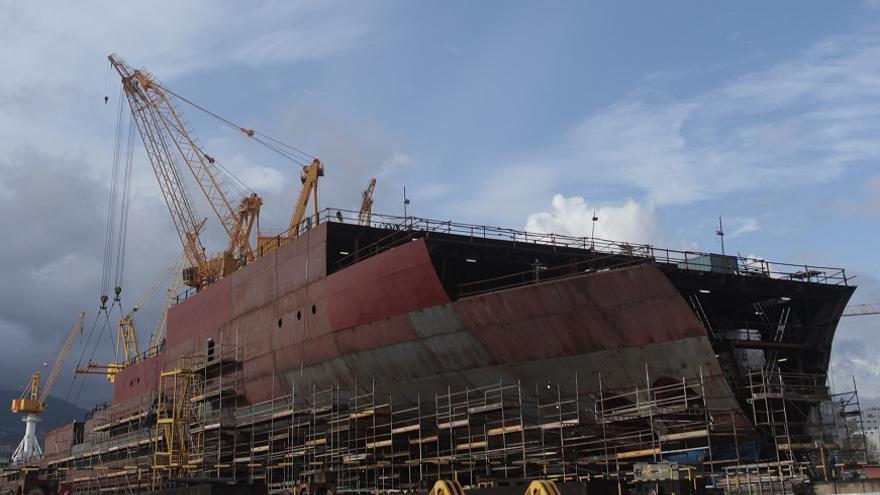 Proceso de construcción de un crucero de lujo en el astillero de Barreras en Vigo