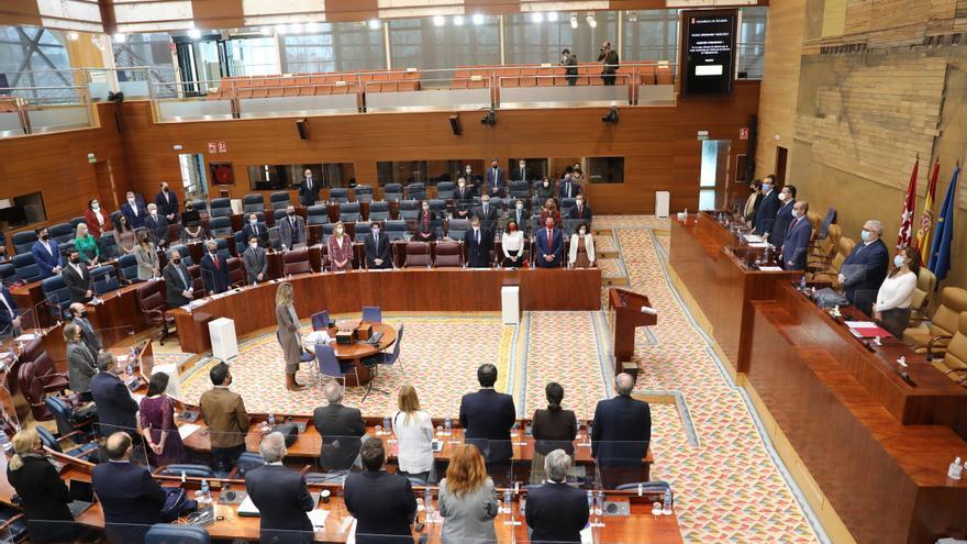 Vista general del pleno de la Asamblea de Madrid durante un minuto de silencio antes de comenzar su debate, en Madrid (España), a 18 de febrero de 2021.
