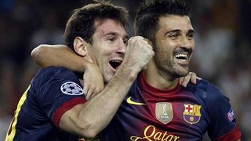 Messy y Villa celebran un gol del argentino. (EUROPA PRESS)