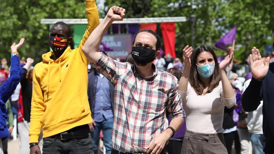 Pablo Iglesias durante un acto electoral en Usera
