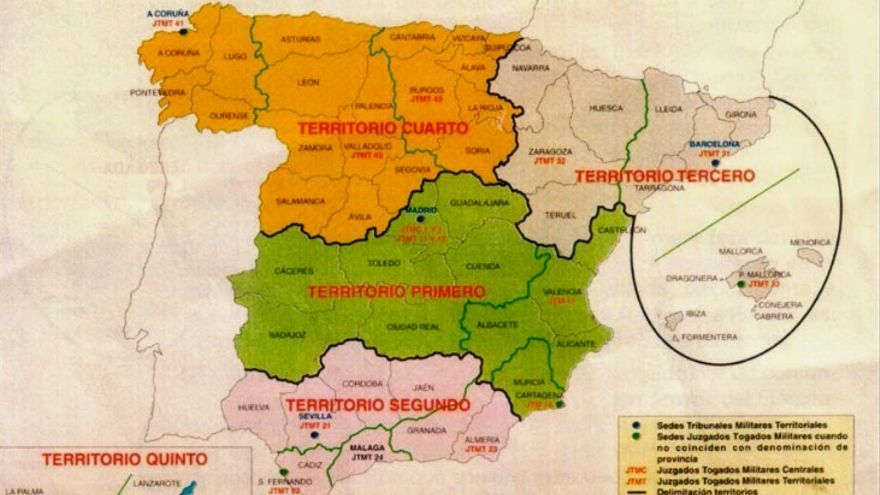 Mapa de la organización territorial de la Jurisdicción Militar, que refleja el ámbito geográfico de actuación de cada Tribunal y las provincias que engloba