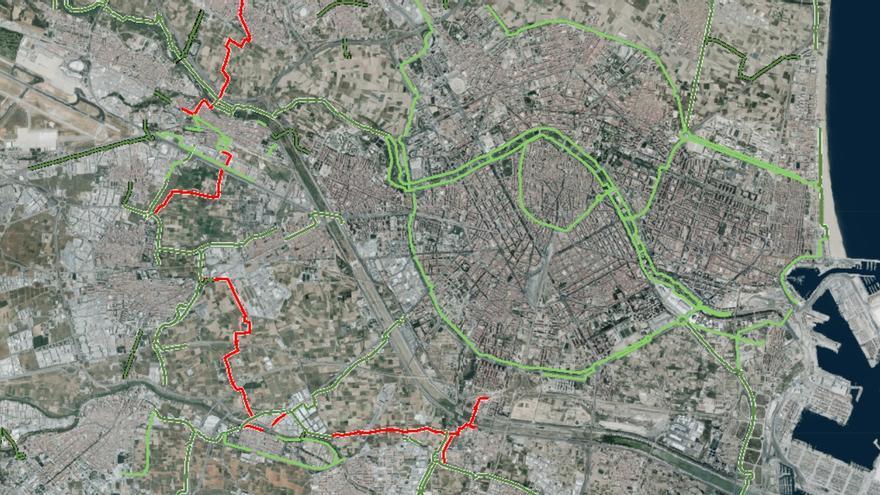 Mapa de los carriles bici del área de València