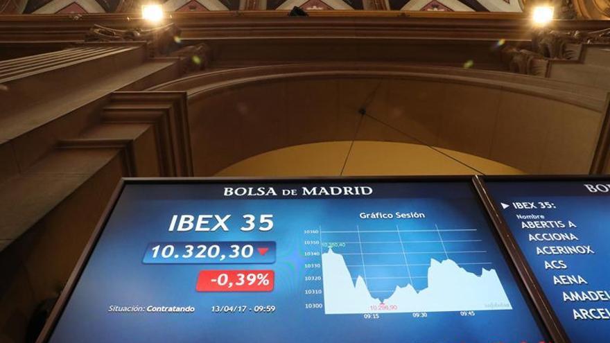 La Bolsa española abre en rojo y cae un 0,25 % pero retiene los 10.300 puntos