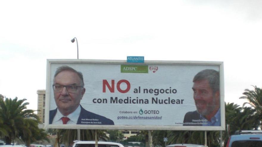 Valla publicitaria contra la política de privatización de la medicina nuclear en el Servicio Canario de Salud.