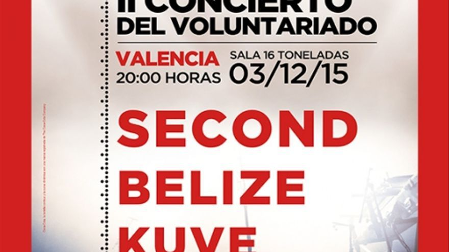 Cartel en Valencia del II Concierto del Voluntariado.