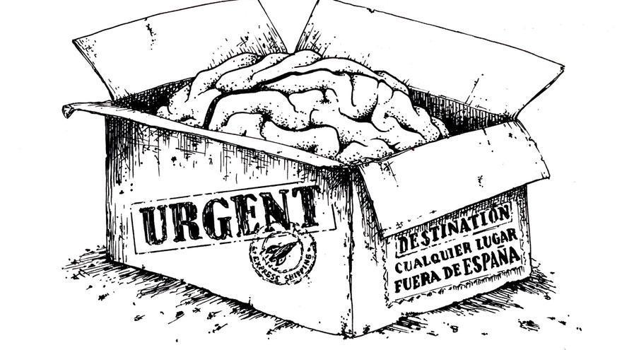 Fuga de cerebros, Ilustración de Josep Berenguel