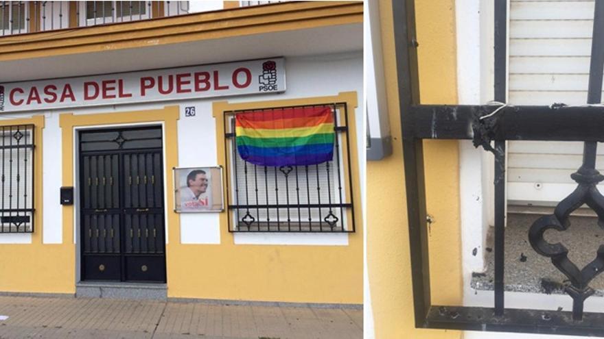 La bandera instalada, quemada en la fachada de la Casa del Pueblo del PSOE de Los Santos de Maimona / PSOE