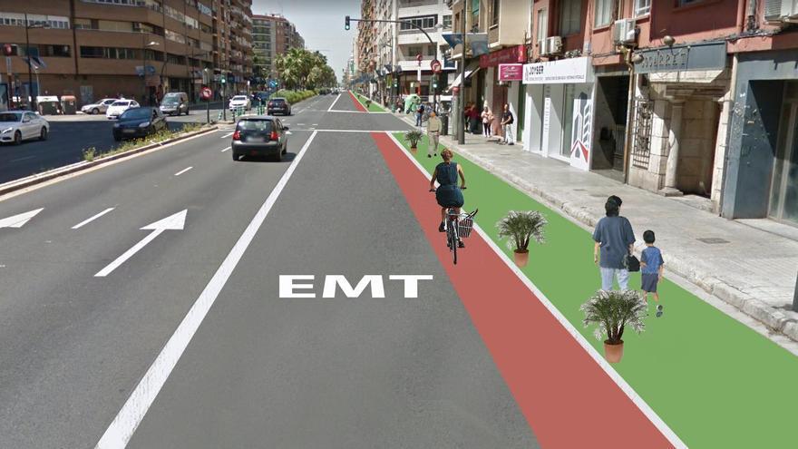 Figuración virtual de la avenida de Giorgeta con el carril bici el rojo y el nuevo espacio peatonal en verde