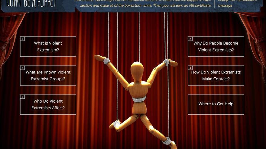 Pantalla principal del videojuego 'Don't Be a Puppet' que el FBI ha difundido para luchar contra el extremismo.