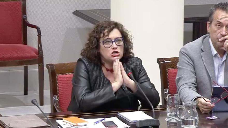 Guadalupe González Taño (GNC-CC) durante una comisión de control de RTVC.