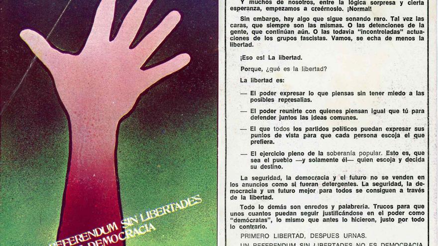 Tarjeta de propaganda contra la Ley de Reforma Política de 1976. | DESMEMORIADOS