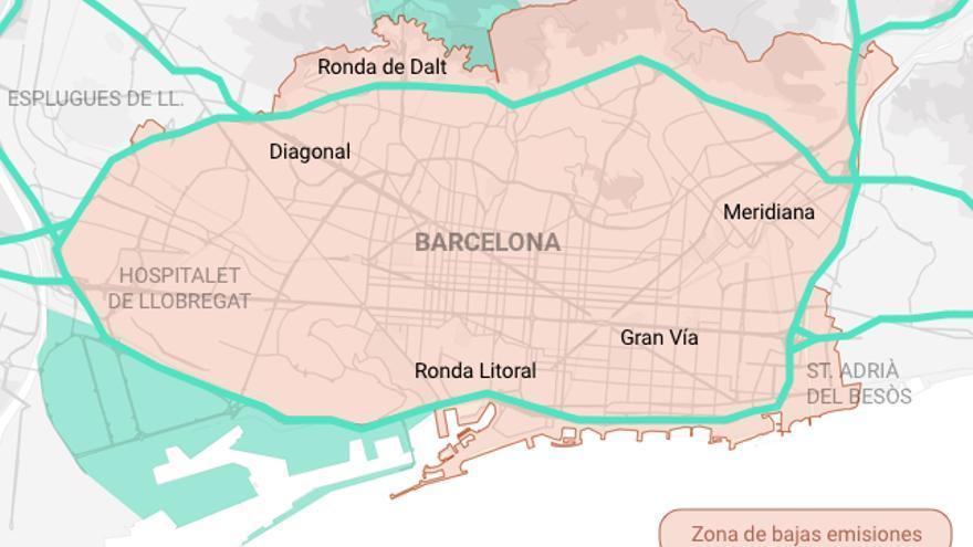 Mapa de la Zona de Bajas Emisiones de Barcelona