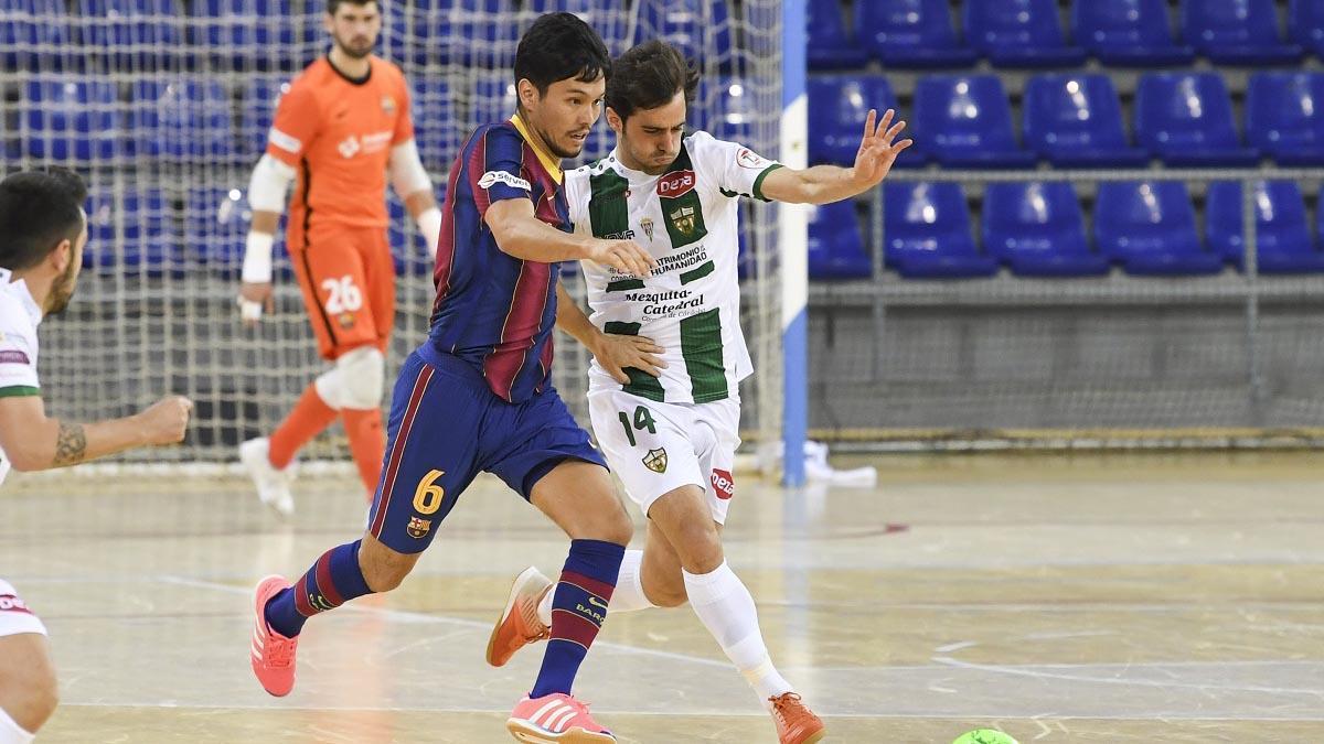 Pablo del Moral, en un acción ante el Barça