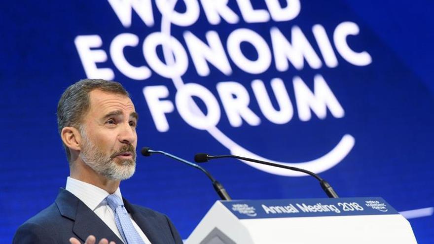 El rey Felipe VI en su discurso ante Foro de Davos (Suiza) / EFE