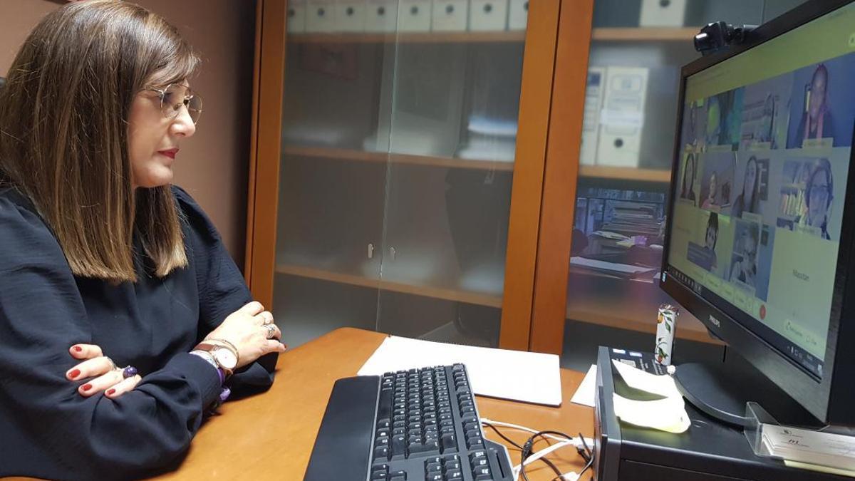 Pilar Callado, directora del Instituto de la Mujer de Castilla-la Mancha durante la videoconferencia