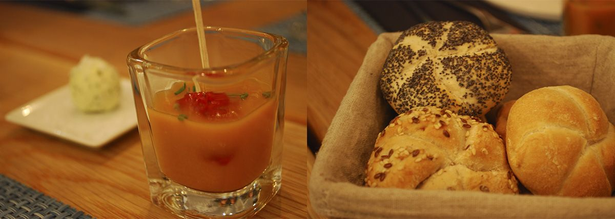 Díptico panecillos y chupito de crema de calabaza con fresa_Malasaña a mordiscos_La T Gastrobar
