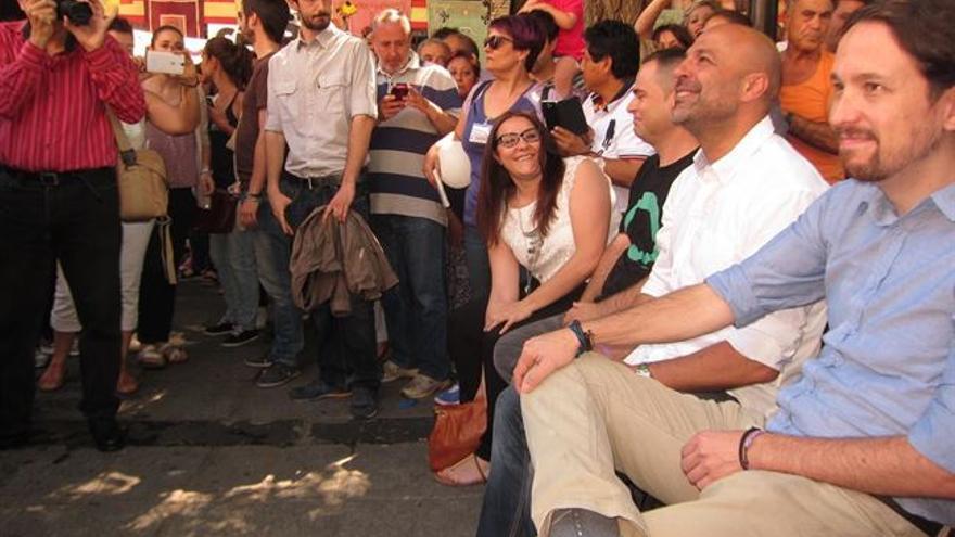 Pablo Iglesias en Toledo junto a José García Molina, Podemos / Foto: Europa Press
