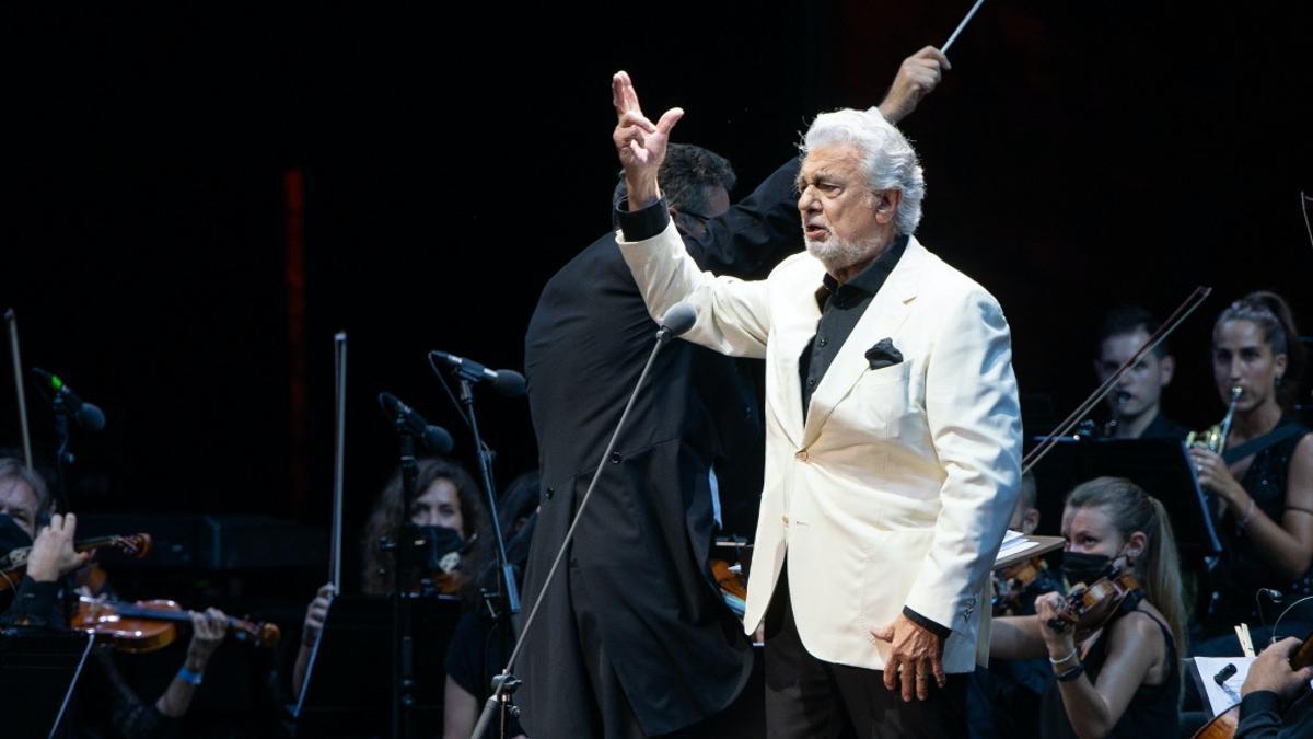 El tenor durante una actuación en Marbella el pasado 19 de agosto de 2021