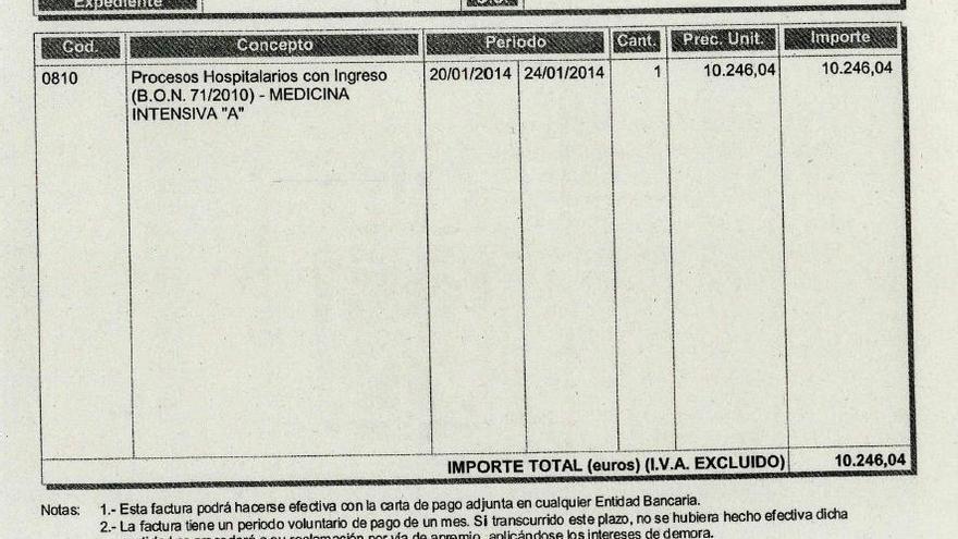 Esta es la parte de una factura denunciada por Médicos del Mundo que muestra el importe.