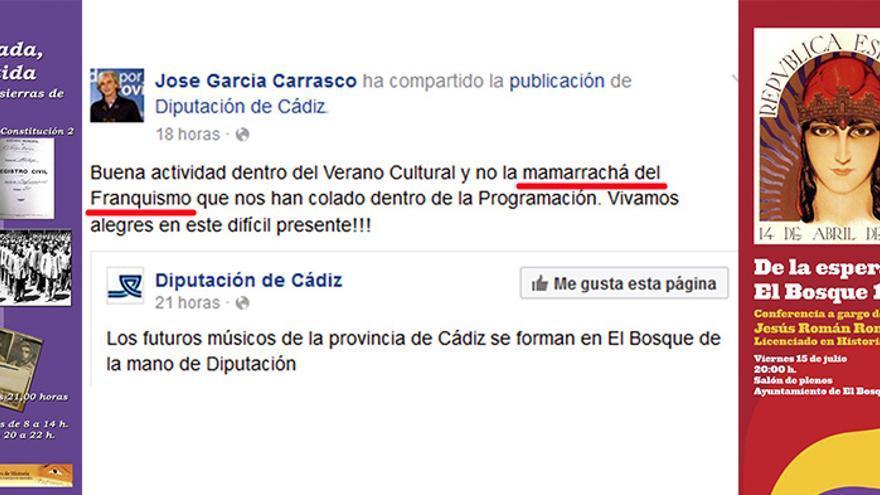 Composición con las declaraciones del edil del PP y los carteles de las jornadas de Memoria Histórica en El Bosque (Cádiz).