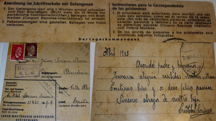 Carta que el deportado barcelonés Cristobal Soriano escribió desde Mauthausen