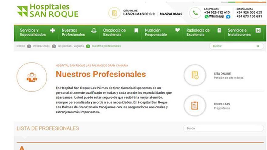 Pedro Lara, en el listado de profesionales de la clínica privada Hospitales San Roque