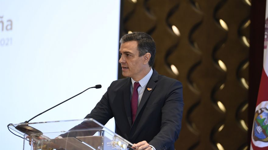 El presidente del Gobierno, Pedro Sánchez, interviene en el encuentro empresarial Costa Rica-España