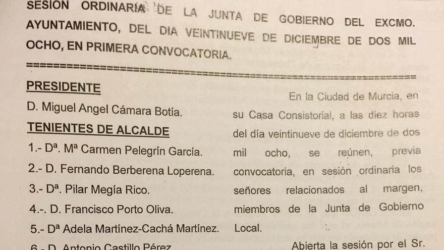 Acta de la Junta de Gobierno del ayuntamiento de Murcia, del 29 de diciembre de 2008