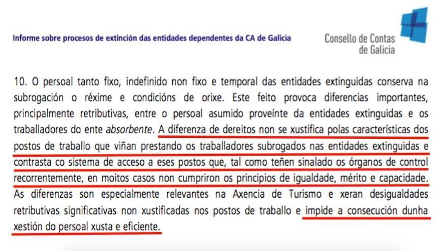 Fragmento del informe del Consello de Contas