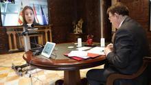 Reunión telemática entre el president Ximo Puig y la consellera Carolina Pascual