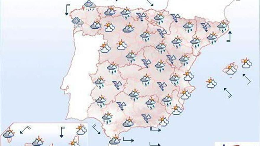 Mañana, tormentas en el este y sur peninsular