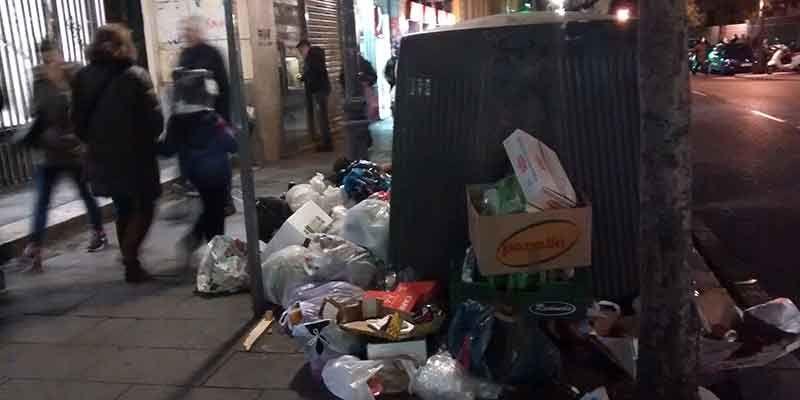 Basura en la calle Fuencarral, este 29 de diciembre