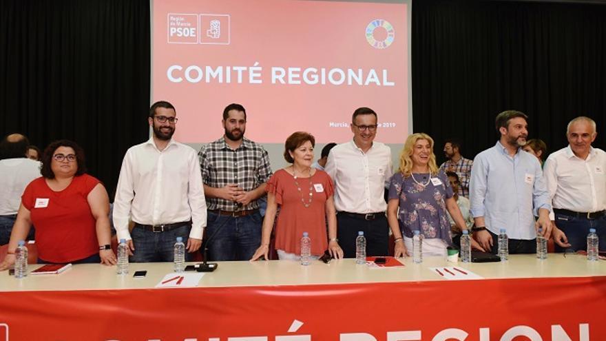 Diego Conesa presidiendo el comite regional del PSRM