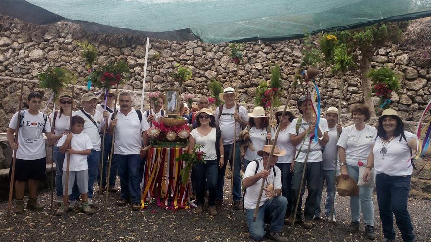 En la imagen, un grupo de romeros, este sabado.