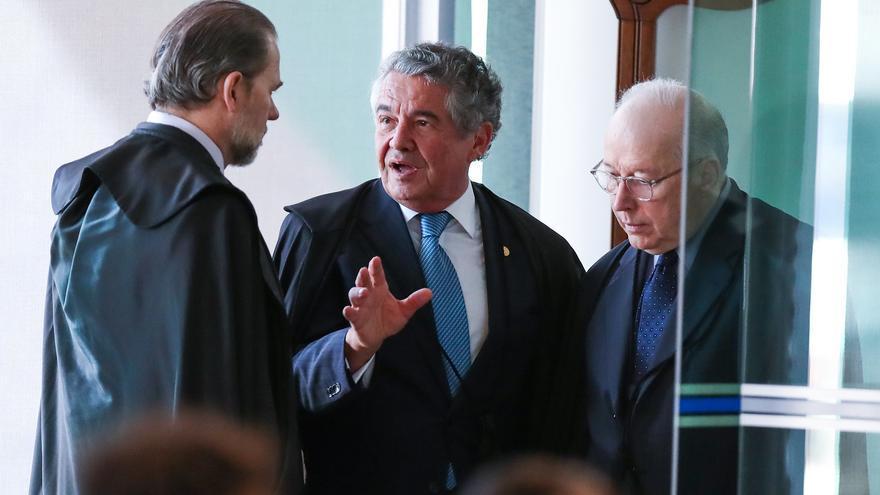 Tres de los magistrados del Supremo que votaron en contra del cumplimiento de penas de prisión tras condena en segunda instancia. De izquierda a derecha, José Antonio Dias Toffoli, Marco Aurélio Mello y Celso de Mello.