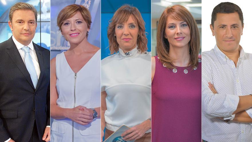 Algunos de los presentadores de informativos de Canal Sur Televisión.
