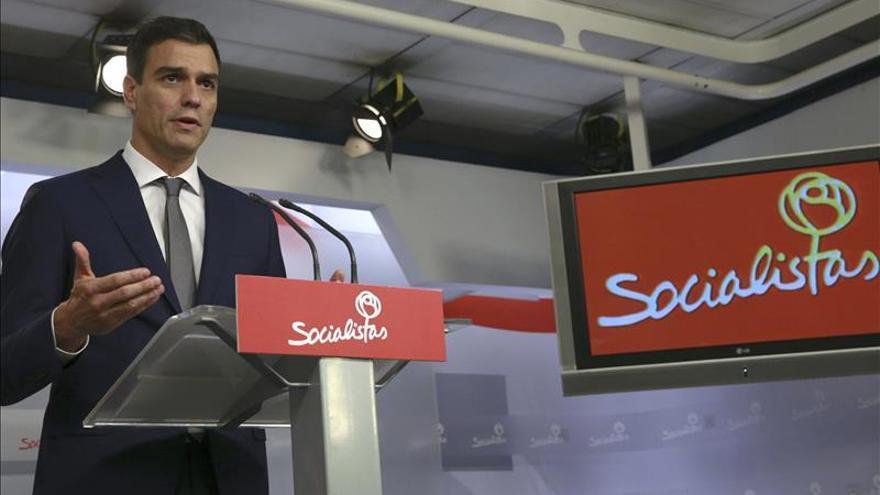 Pedro Sánchez, durante la rueda de prensa en Ferraz esta mañana.