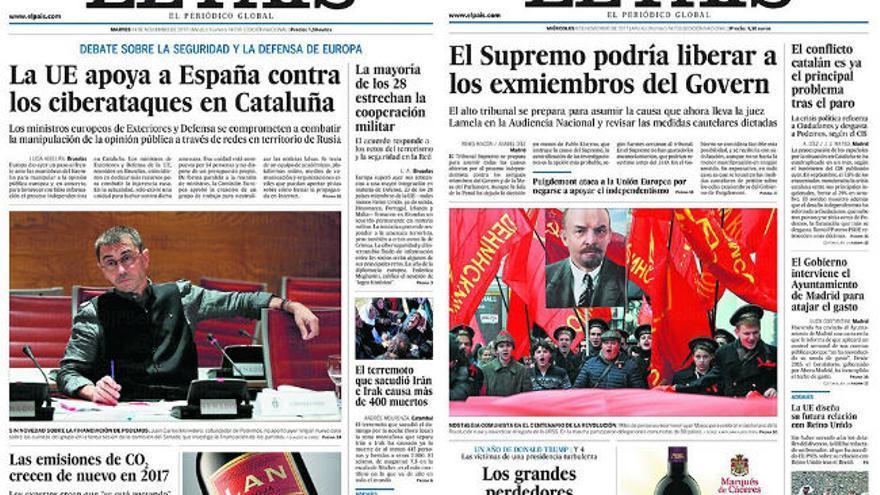 Portadas del diario El País