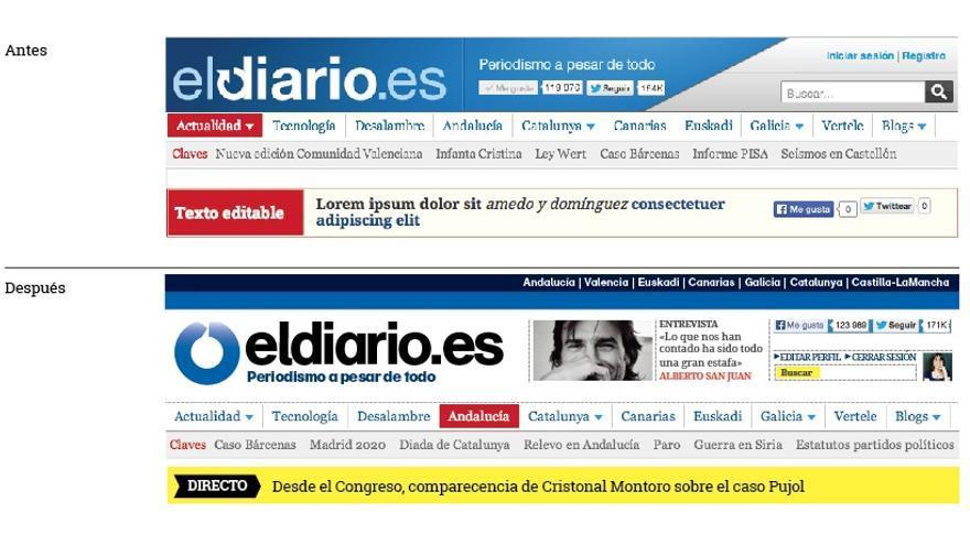 El antes y el después de la cabecera de eldiario.es tras el rediseño